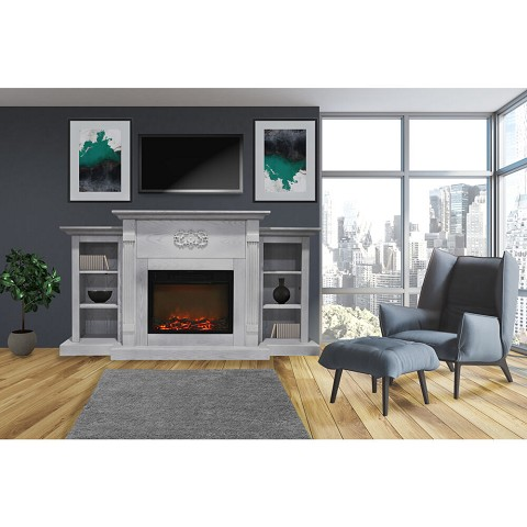 Cambridge Sanoma 72 In. Electric Fireplace in White with Built-in Bookshelves and a 1500W Charred Log Insert - CAM7233-1WHT