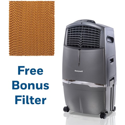 Honeywell 525 CFM Indoor Evaporative Air Cooler in Gray with Remote Control and an Extra Honeycomb Filter, CL30-5061-KIT
