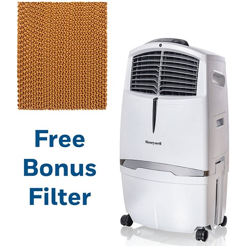 Honeywell 525 CFM Indoor Evaporative Air Cooler in White with Remote Control and an Extra Honeycomb Filter, CL30WW-5061-KIT