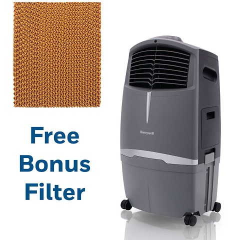 Honeywell 525 CFM Indoor/Outdoor Evaporative Air Cooler in Gray with Remote Control and an Extra Honeycomb Filter, CO30-5061-KIT