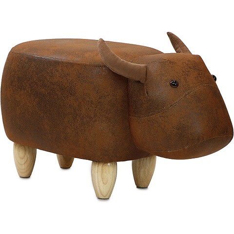 "Critter Sitters 14"" Seat Height Animal Shape Ottoman Furniture for Nursery, Bedroom, Playroom & Living Room Decor (Brown Cow), CSCOWOTT-BRN"