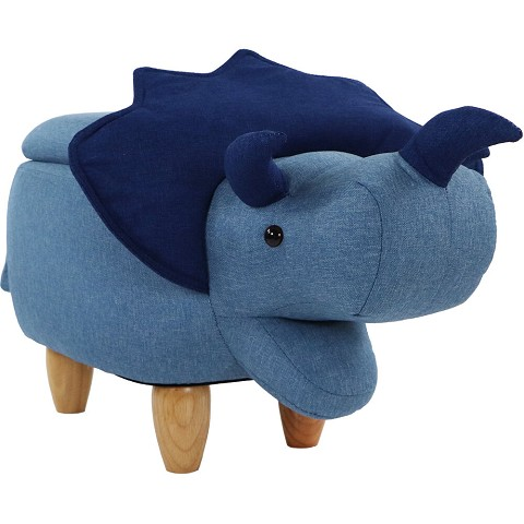 Critter Sitters 15-In. Seat Height Blue Triceratops Dino Shape Storage Ottoman Furniture for Nursery, Bedroom, Playroom, Living Room Decor, CSDNOSTOTT-BLU