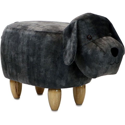 "Critter Sitters 14"" Seat Height Animal Shape Ottoman Furniture for Nursery, Bedroom, Playroom & Living Room Decor (Dark Gray Dog), CSDOGOTT-DKGRY"