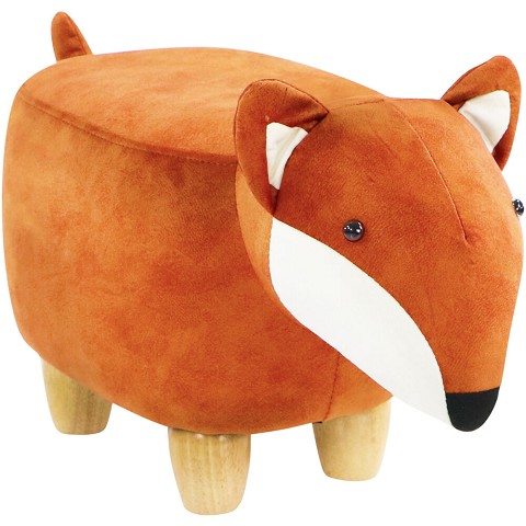 Critter Sitters 11-In. Seat Height Fox Animal Shape Mini Ottoman - Furniture for Nursery, Bedroom, Playroom, and Living Room Decor, CSFOXOTT-BRN