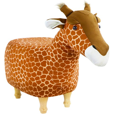 Critter Sitters 15-In. Seat Height Giraffe Animal Shape Ottoman - Furniture for Nursery, Bedroom, Playroom, and Living Room Decor, CSGIROTT-TAN