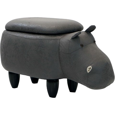 "Critter Sitters 15"" Seat Height Animal Shape Storage Ottoman Furniture for Nursery, Bedroom, Playroom & Living Room Decor (Dark Gray Hippo), CSHIPSTOTT-DKGRY"