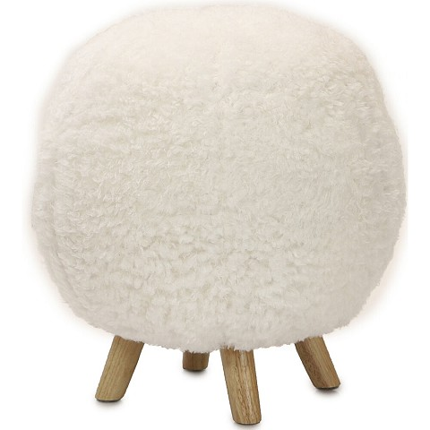 "Critter Sitters 19"" Seat Height Plush Pouf Ottoman in White w/ 4 Spindle Legs - Furniture for Nursery, Bedroom, Playroom & Living Room Decor, CSPOUFOTT-WHT"