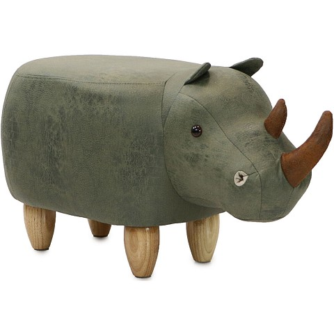 "Critter Sitters 14"" Seat Height Animal Shape Ottoman Furniture for Nursery, Bedroom, Playroom & Living Room Decor (Green Rhino), CSRHIOTT-GRN"