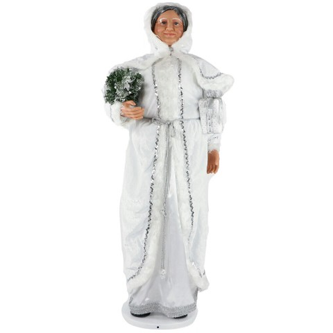 "Fraser Hill Farm 58"" Dancing Mrs. Claus in Hooded Cloak with Mini Christmas Tree and Gift, Life-Size Christmas Holiday Home Decorations, FAMC058-2WH1"