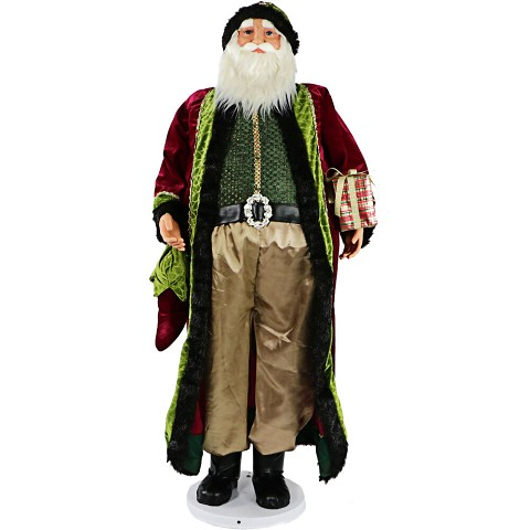 "Fraser Hill Farm 58"" Dancing Santa with Jeweled Velvet Robe and Wrapped Gift, Life-Size Christmas Holiday Home Decorations, FASC058-2RD2"