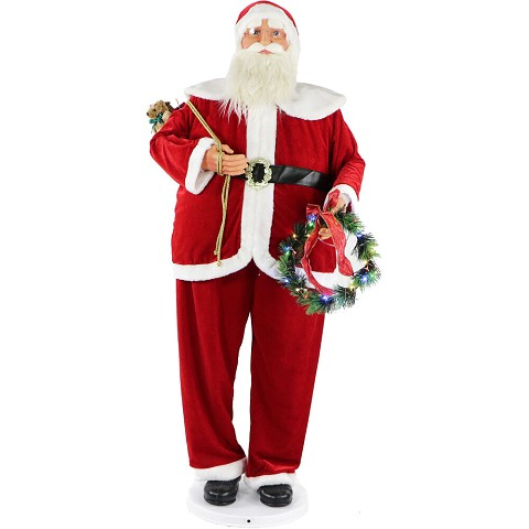 "Fraser Hill Farm 58"" Traditional Dancing Santa with Wreath and Gift Sack, Life-Size Christmas Holiday Home Decorations, FASC058-2RD3"