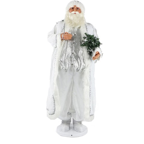 "Fraser Hill Farm 58"" Dancing Santa in Long White Robe with Mini Christmas Tree and Gift Sack, Life-Size Christmas Holiday Home Decorations, FASC058-2WH1"