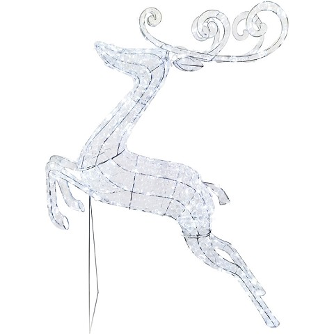 "Fraser Hill Farm Indoor/Covered Outdoor Christmas Decorations, 57.5""H Pre-Lit Crystal Jumping Reindeer w/ 208 LED Lights & 8 Lighting Effects, FCRY060-DEER1-WT3"