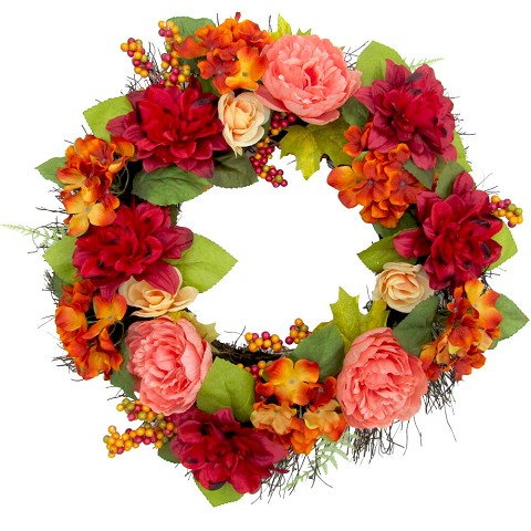 Fraser Hill Farm 24-inch Fall Harvest Wreath Door Hanging with Dahlias and Peonies, FF024HVWR002-0MLT