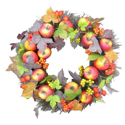 Fraser Hill Farm 24-inch Fall Harvest Wreath Door Hanging with Apples and Berries, FF024HVWR007-0MLT
