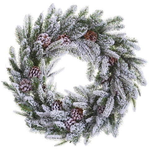 "Fraser Hill Farm 30"" Round Christmas Décor Snow Flocked Pine Wreath Trimmed with Pinecones, FF030W-SN"