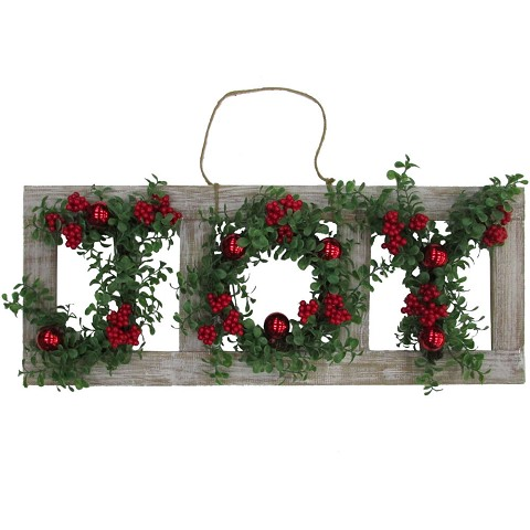 Fraser Hill Farm 33-in. Christmas Christmas JOY Door Hanging with Berries and Ornaments on Wood Frame, FF033CHWR001-0WHT