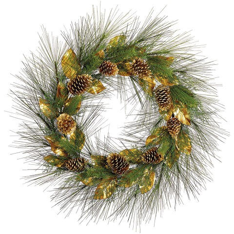 "Fraser Hill Farm 36"" Round Christmas Décor Green Pine Wreath Trimmed with Gold Magnolia Leaves and Pine Cones, FF036W-GR/GL"