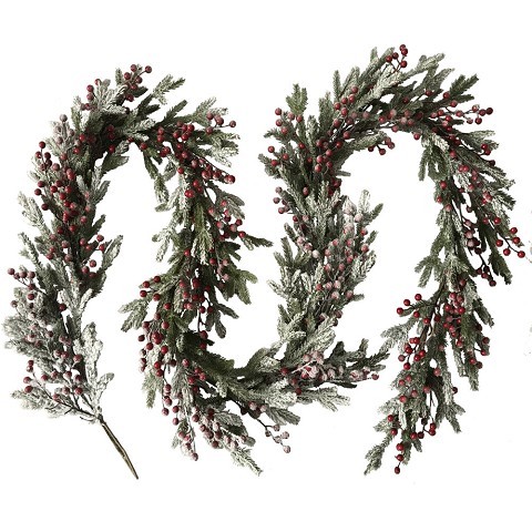 Fraser Hill Farm 9-Ft. Snow-Covered Decorative Garland - Frosted with Berries, FF108CHGL004-0SN