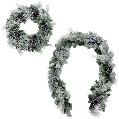 Fraser Hill Farm 24-in. Wreath and 6-ft. Garland Set with Snow Flocking and Pinecones, FFCH002SET-0SN