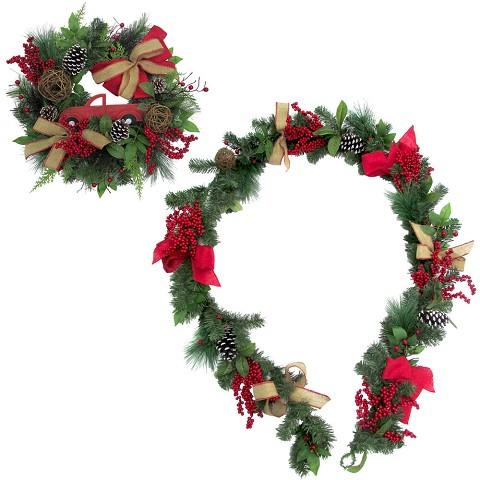Fraser Hill Farm 24-in. Wreath and 9-ft. Garland Set with Pinecones, Bows, and Berries, FFCH003SET-0RED