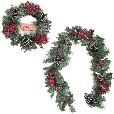 Fraser Hill Farm 24-in. Wreath and 6-ft. Garland Set, Snow Flocked with Pinecones and Bows, FFCH006SET-0RD