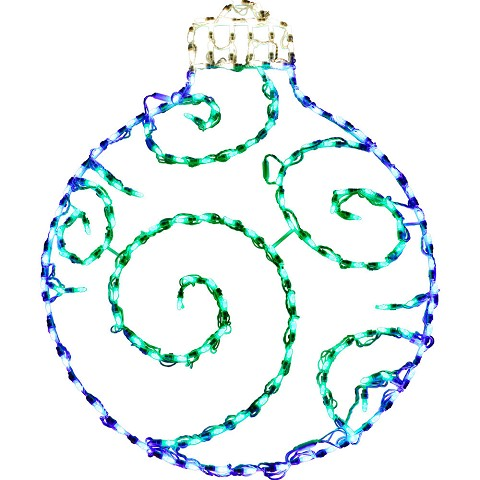 "Fraser Hill Farm Christmas Indoor/Outdoor LED Lights, Round Ornament in Blue/Green (38""H x 30""W), FFCHLED038-ORN0-BLU/GRN"