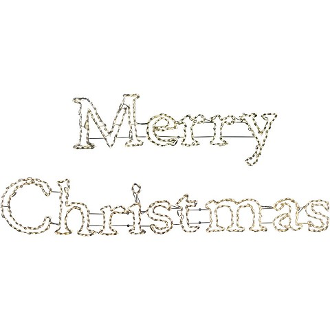 Fraser Hill Farm Christmas Giant Outdoor LED Lights, 2-Piece Merry Christmas Sign in Warm White, FFCHLED240-MC0-WT