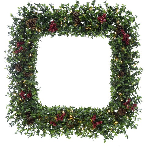 "Fraser Hill Farm 36"" Evergreen Berry Green Prelit Oversized Square Wreath with Pine Cones, Berries, and Warm White LED Lights, FFEB036W-5GR"