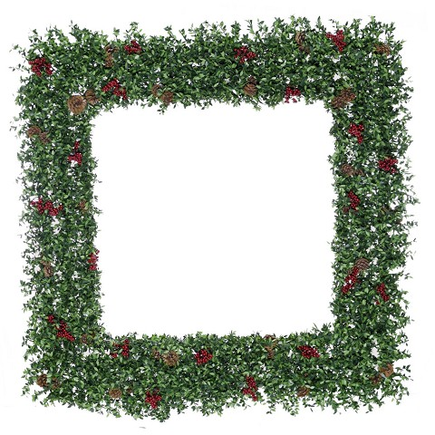 "Fraser Hill Farm 48"" Evergreen Berry Green Oversized Square Wreath with Pine Cones and Berries, FFEB048W-0GR"