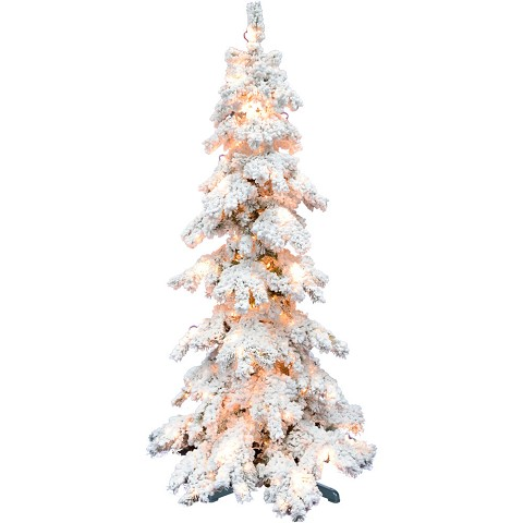 Fraser Hill Farm 7.5-ft. Elk Mountain Snow Flocked Christmas Tree with Clear Lighting and a Rotating Stand, FFEM075-5SN-RSTD
