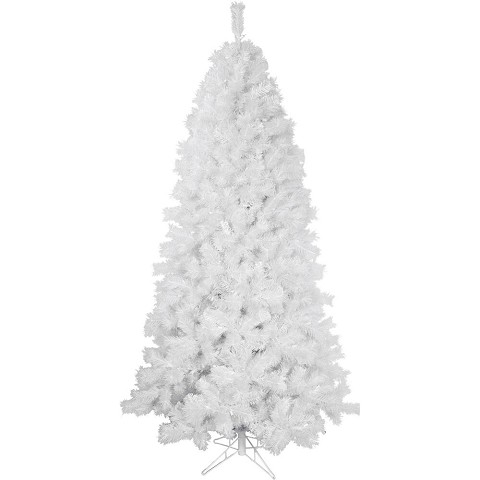 Fraser Hill Farm 6.5-Ft Prelit Frosted Valley White Christmas Tree with EZ Connect Clear LED Lights and Metal Stand, FFFV065-5WH