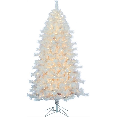 Fraser Hill Farm 7.5-Ft Prelit Frosted Valley White Christmas Tree with EZ Connect Clear LED Lights and Metal Stand, FFFV075-5WH