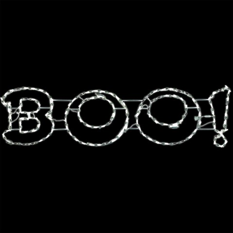 Haunted Hill Farm Halloween Giant Outdoor LED Lights, BOO Sign (63 x 16 inches), FFHELED063-BOO0-WT