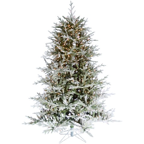 Fraser Hill Farm 6.5-Ft Highland Frosted Green Prelit Christmas Tree with EZ Connect Warm White LED Lights and Metal Stand, FFHL065-5FR