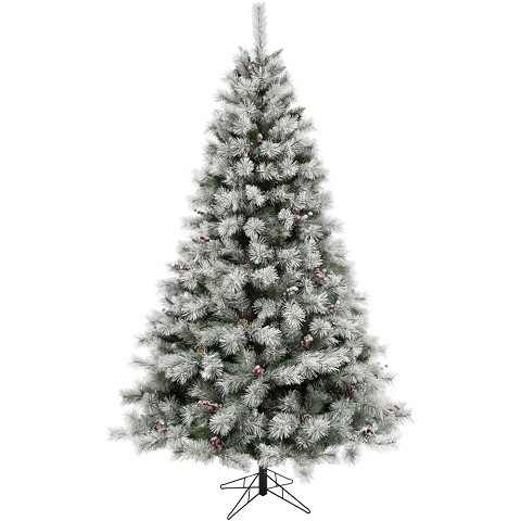 Fraser Hill Farm 7.5-Ft Homestead Pine Frosted Christmas Tree with Pinecones and Berries and Metal Stand, FFHM075-0GR