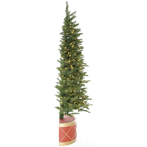 Fraser Hill Farm 6.5-ft. Green Christmas Half Tree and Drum Pot with Warm White LED Lighting, FFHTC065-5GR