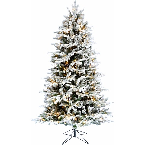 Fraser Hill Farm 7.5-Ft Majestic Pine White Flocked Christmas Tree with EZ Connect Multi-Color LED Lights, FFMJ075-6SN