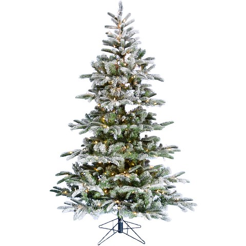 Fraser Hill Farm 7.5-Ft Nordic Frost Frosted Green Prelit Slim Christmas Tree with EZ Connect Warm White LED Lights and Metal Stand, FFNO075-5FR