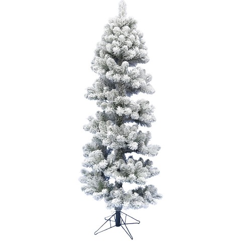 Fraser Hill Farm 5-Ft Snowy Spiral Porch Tree in Metal Base, No lights, FFPTC050-0WH