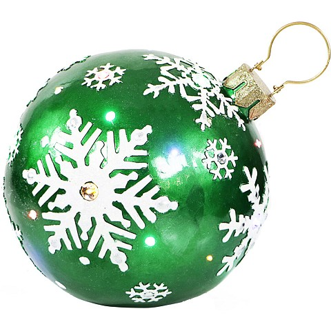 Fraser Hill Farm Indoor/Outdoor Oversized Christmas Decor w/ Long-Lasting LED Lights, 18-In. Jeweled Ball Ornament w/Snowflake Design in Green, FFRS018-ORN1-GN