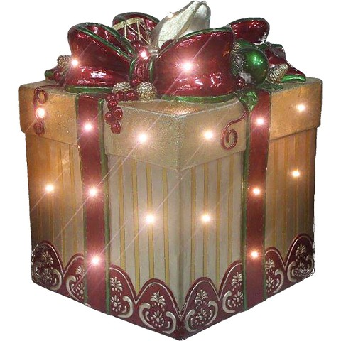 Fraser Hill Farm Indoor/Outdoor Oversized Christmas Decor with Long-Lasting LED Lights, 22-In. Tall Square Gift Box with Bow in Gold/Red, FFRS022-GBFF1-GLD