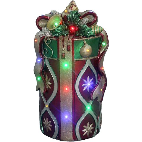 "Fraser Hill Farm Indoor/Outdoor Oversized Christmas Decor with Long-Lasting LED Lights, 26"" Tall Round Gift Box with Bow in Red/Gold, FFRS026-GBFF1-RD"