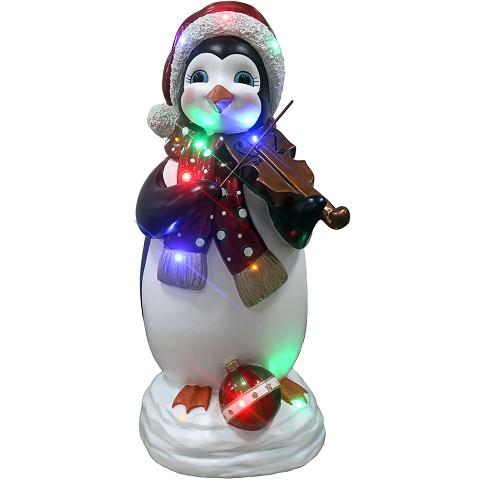 Fraser Hill Farm Indoor/Outdoor Oversized Christmas Decor w/ Long-Lasting LED Lights, 3-Ft. Tall Penguin Playing the Fiddle, FFRS036-PNG1-WT3