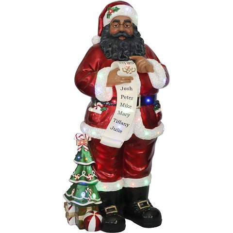 Fraser Hill Farm Indoor/Outdoor Oversized Christmas Decor with Long-Lasting LED Lights, 4-Ft. Santa Claus Holding Naughty & Nice Scroll, FFRS052-SC1-RDAA