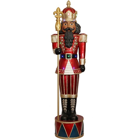 Fraser Hill Farm Indoor/Outdoor Oversized Christmas Decor, 6-Ft. Jeweled African American Nutcracker Greeter with Staff and 22 LED Lights, FFRS065-NC1-RDAA
