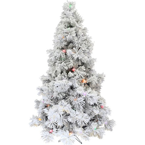 Fraser Hill Farm 7.5-Ft. Flocked Snowy Pine Christmas Tree with Colorful G40 LED Light Bulbs, FFSNG40075-6SN