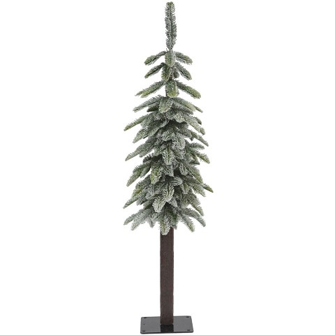 Fraser Hill Farm 4.0-Ft Woodland Pine Lightly Frosted Natural Wonderland Look Christmas Tree with Metal Base, FFWP048-0FR