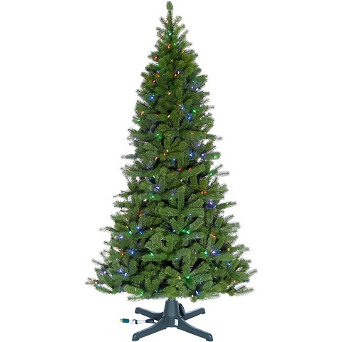 Fraser Hill Farm 7.5-Ft. Wondrous Pine Christmas Tree with Rotating Stand and RGB Technology Multi Function Lights, FFWP075-6GR-RSTD