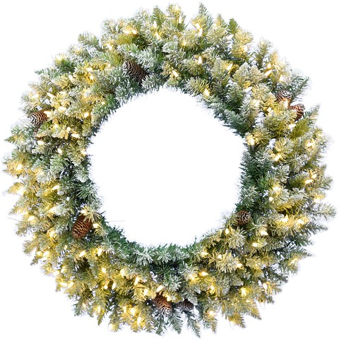 "Fraser Hill Farm 48"" Frosted Pine Wreath Door Hanging with Pinecones with Warm White LED Lightning, FFWRA048-5SN"